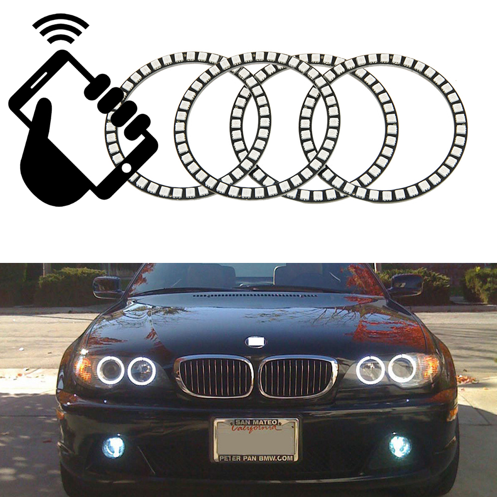 Wifi Remote Control RGB olor LED Angel Eyes 12V Halo Ring Lighting Kit for BMW 2004 2005 2006  E46 325ci 330ci Coupe Convertible 4x xenon rgb remote multi color led angel eyes kit for bmw e90 2006 2008 e60