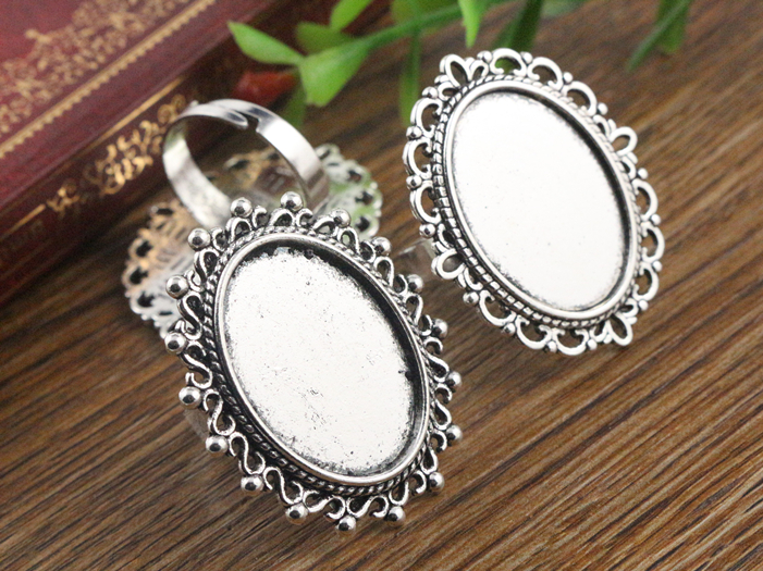 18x25mm 5pcs Antique Silver Plated Two Style Oval Adjustable Ring Settings Blank/Base,Fit 18x25mm Glass Cabochons 18x25mm 5pcs Antique Silver Plated Two Style Oval Adjustable Ring Settings Blank/Base,Fit 18x25mm Glass Cabochons