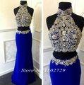 Real fotos Real Blue duas peças Prom alta Neck Sparkly cristal frisada Vestidps de Renda longo partido Eveing vestido vestidos