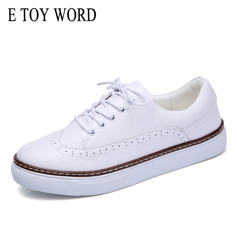 E TOY WORD Women Genuine Leather Oxfords Sneakers Women White Flat Shoes Spring platform Shoe Zapatos Mujer Lace-Up Casual Flats hot sale genuine leather shoes women soft comfortable lace up zapatos mujer high quality fashion oxfords pigskin women s shoes