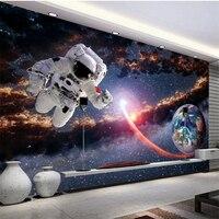 Beibehang Large Custom Wallpaper 3D Stereoscopic Layered Astronaut Universe Galactic Globe Children Room Background