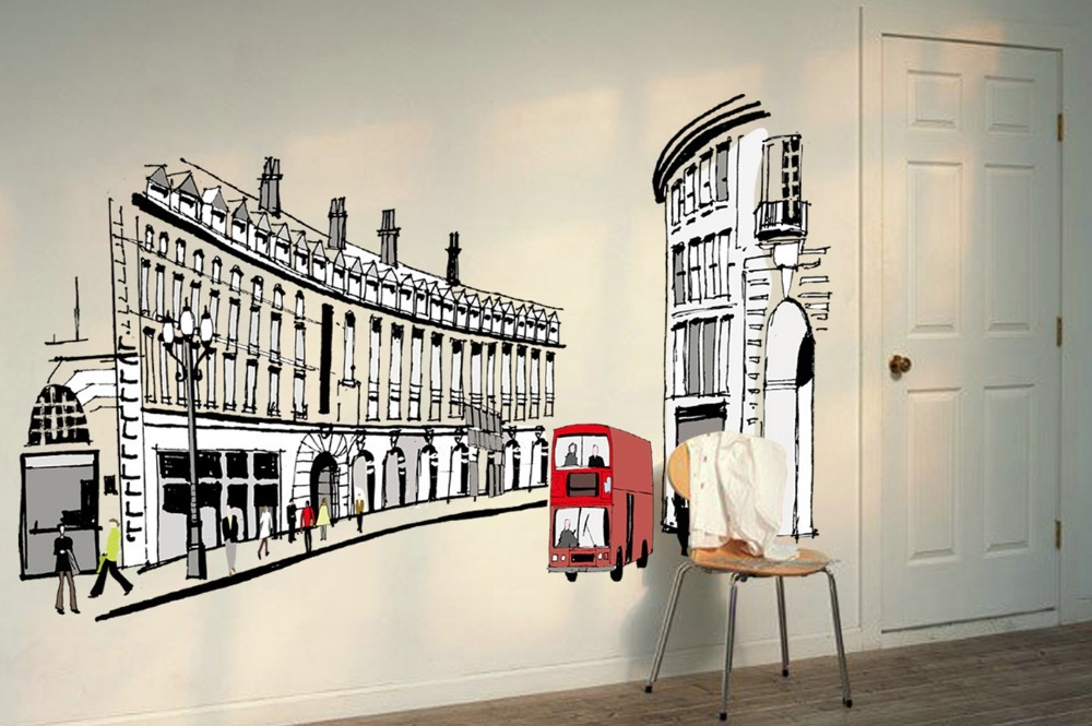 Large Vintage Roman Street Wall Stickers Poster Europe