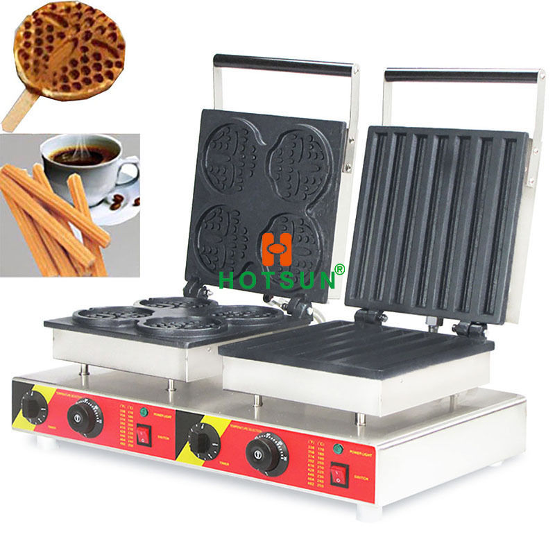 Free Shipping Dual 110V 220V Electric Churros Lolly Waffle Sick Iron Maker Baker Machine
