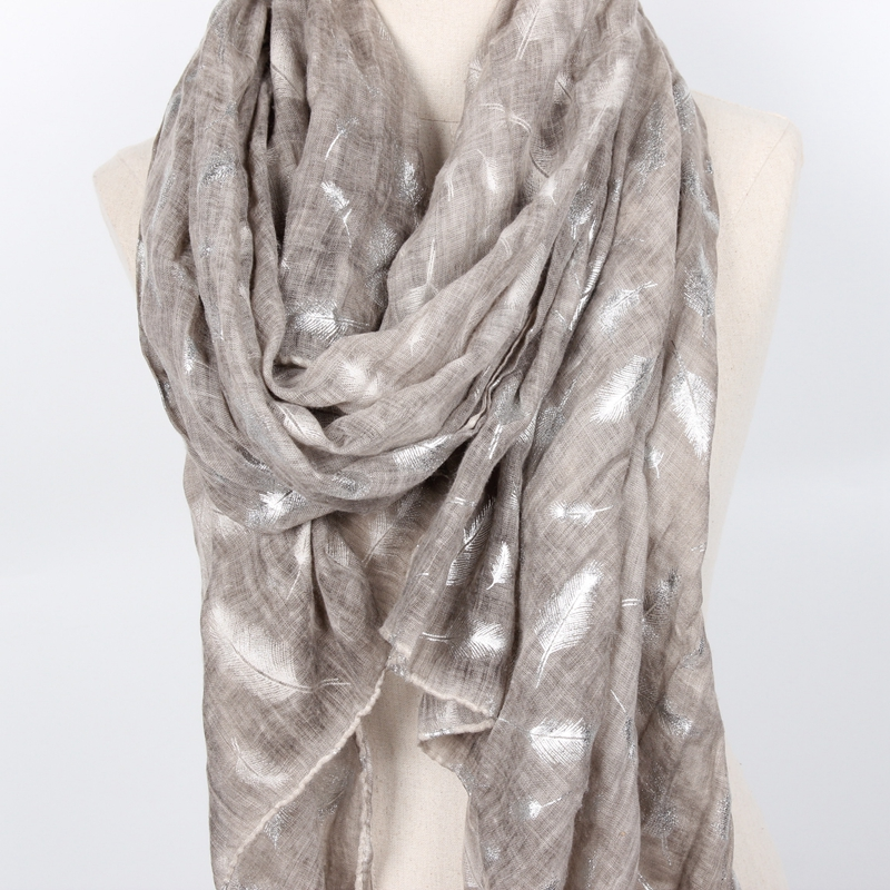 Staiwalks Ladies Fashion Gold Stamping Scarf 2 Colors Gray Blue With Feather Print Elegant Shawl Nice Quality Classic Pattern