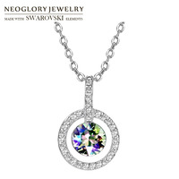 Neoglory Austria Crystal Rhinestone S925 Silver Plated Long Charm Necklace Allergy Free Trendy Geometric Colorful Style