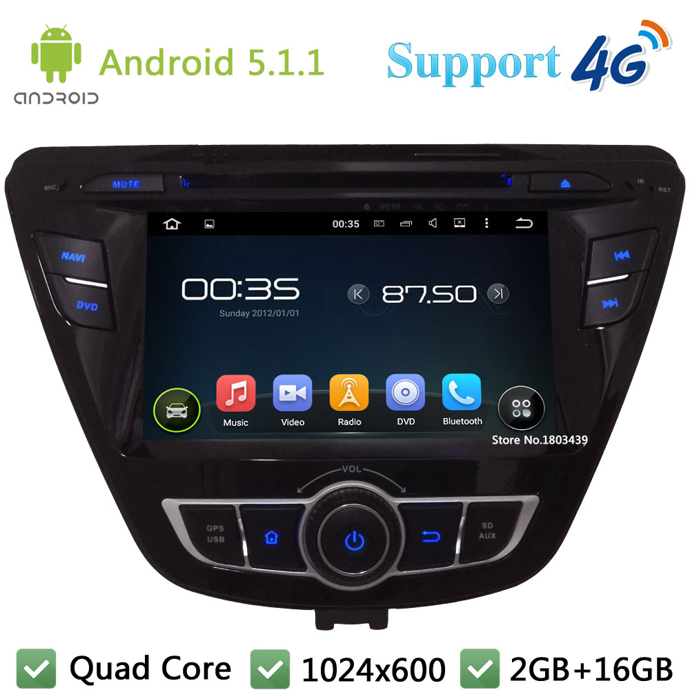 "Quad Core 7"" 1024*600 Android 5.1.1 Car Multimedia DVD Player Radio Stereo FM DAB+ 3G/4G WIFI GPS Map For Hyundai Elantra 2014"