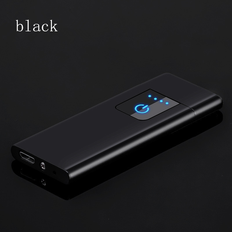 super thin Windproof Nice Gift Smokeless Flameless USB Charging fingerprint Lighter Electronic Cigarette Lighters in Cigarette Accessories from Home Garden