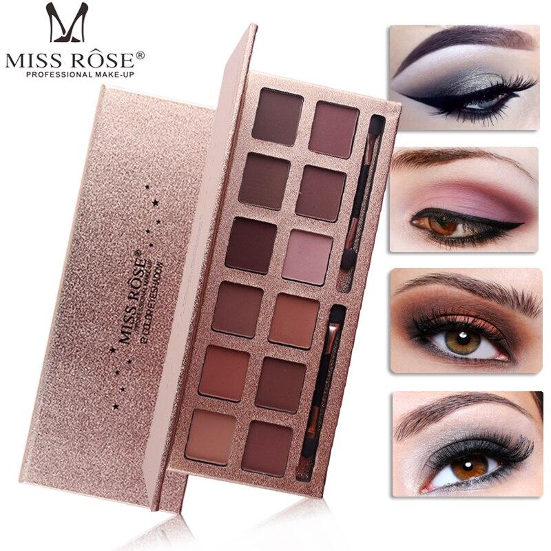 Miss Rose 12 Colors Shimmer Matte Eyeshadow Palette Waterproof Long Lasting Smoky Earth Nude Eyeshadow Powder MS099