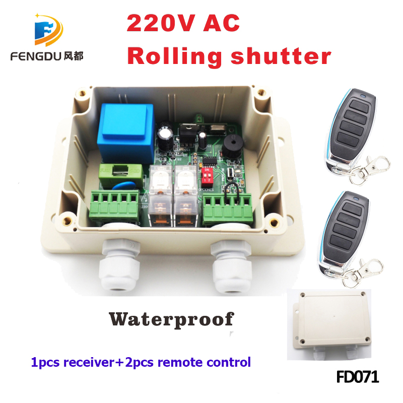 1 pièces Récepteur + 2 pièces Télécommande conotrol 220 v 433 mhz télécommande portes roulantes en aluminium volet roulant récepteur rf