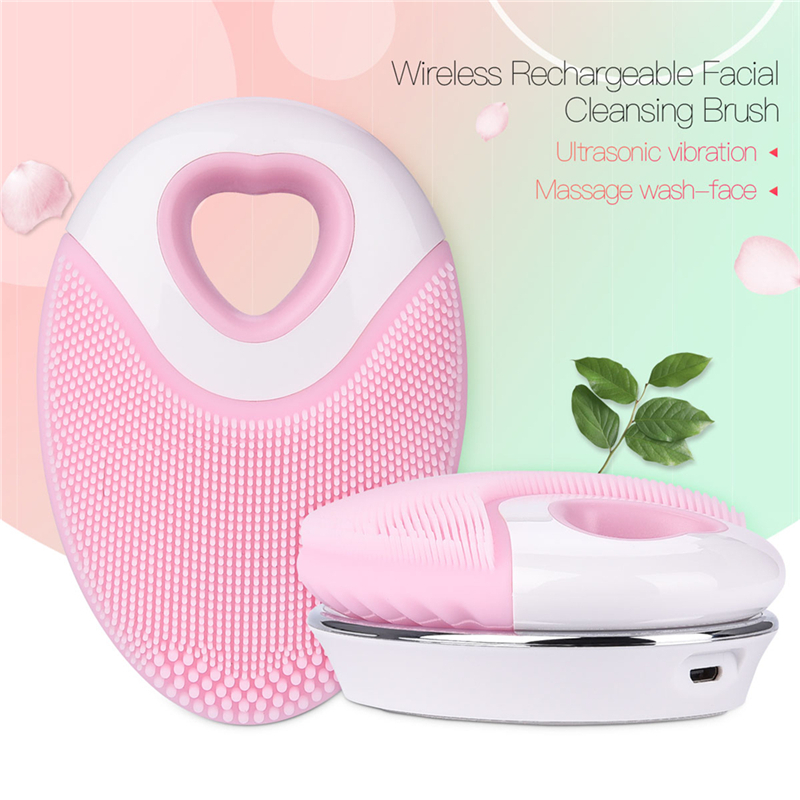 Wireless Charge Electric Face Washing Cleaning Brush Massager Silicone Facial Cleansing Device Skin Foundation Makeup Cleaner цена и фото