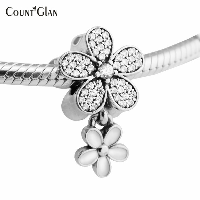 Dazzling 2017 Spring Daisy Duo Flowers Charms Beads To Make White Enamel CZ Fit European Bracelets 925 Sterling Silver Jewelry