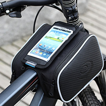 ROSWHEEL Waterproof 1.8L Cycling Bike Bicycle Front Frame Bag Tube Pannier Double Pouch for 5in or 5.5in Cellphone 12813