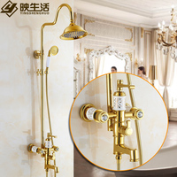 Luxury Bath Waterfall Faucet Shower Rose Gold Shower Sets Golden Sprinkle Retro Suit Carved Hand Shower Head Bathtub Mixer