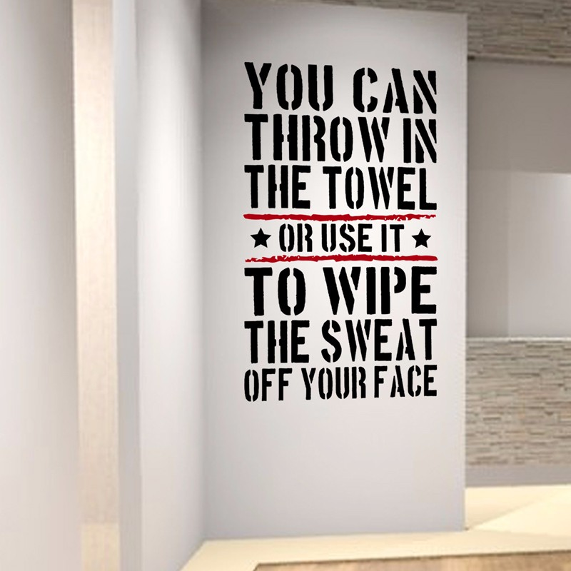 throw in the towl home gym motivational wall decal quote fitness