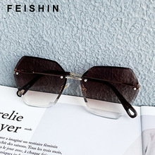 FEISHINI Classic Fashion Black Gradient Sunglasses Rhinestone Rimless Women Vintage Oversized Luxury Brand Designer