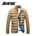 Jolintsai Parka Men Winter Jacket Men 2017 Slim Stand Collar Solid Color Cotton Coats Men Plus Size Clothing Male M-4XL
