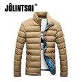 Jolintsai homens parka homens jaqueta de inverno 2017 colarinho slim cor sólida casacos de algodão dos homens plus size clothing masculina m-4xl