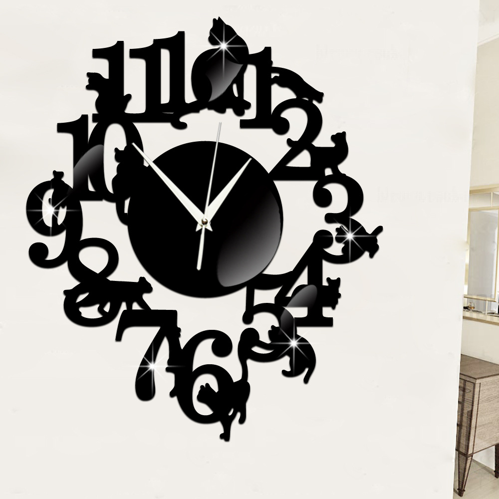 Creative black cat wall clocks mirror surface acrylic wall clock creative black cat wall clocks mirror surface acrylic wall clock 3d decor living room wall stickers clock in wall clocks from home garden on amipublicfo Gallery