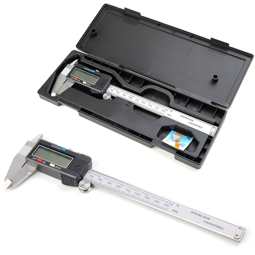 Digital Vernier Caliper 150mm/6inch With Box Stainless Steel Electronic Vernier Calipers LCD Paquimetro Micrometer E3371 T150.5