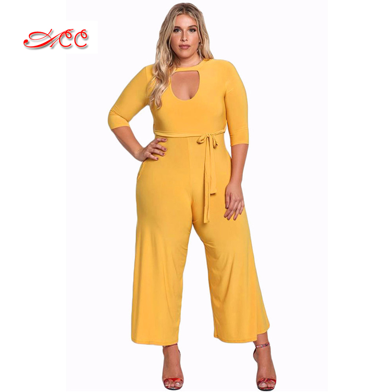 Plus size Jumpsuit for overweight women Solid color Simple and stylish womens overalls womens classic Office workers clothes