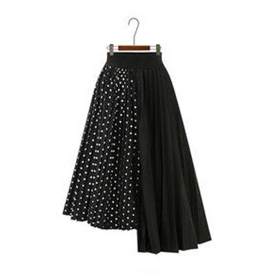 Европейский стиль летние женские юбки плюс размер 5XL плиссированные в горошек Лоскутные женские юбки шифоновые Асимметричные женские рубашки Новые - Цвет: Black