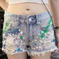 New 2017 Summer Shorts Women Korean style Club jeans Beaded pocket Denim Shorts Sexy hip-hop Ripped Sequinsed Shorts Personality