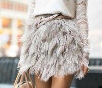 Страусиное перо юбка Винтаж сплошной цвет короткое платье феи цельный сексуальный юбка для танцев Настоящее перо