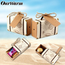 Ourwarm 50pcs Paper Candy Gift Box Chocolate Bags for Guest Travel Theme Party Favors Wedding Souvenir Summer Party Decoration(China)