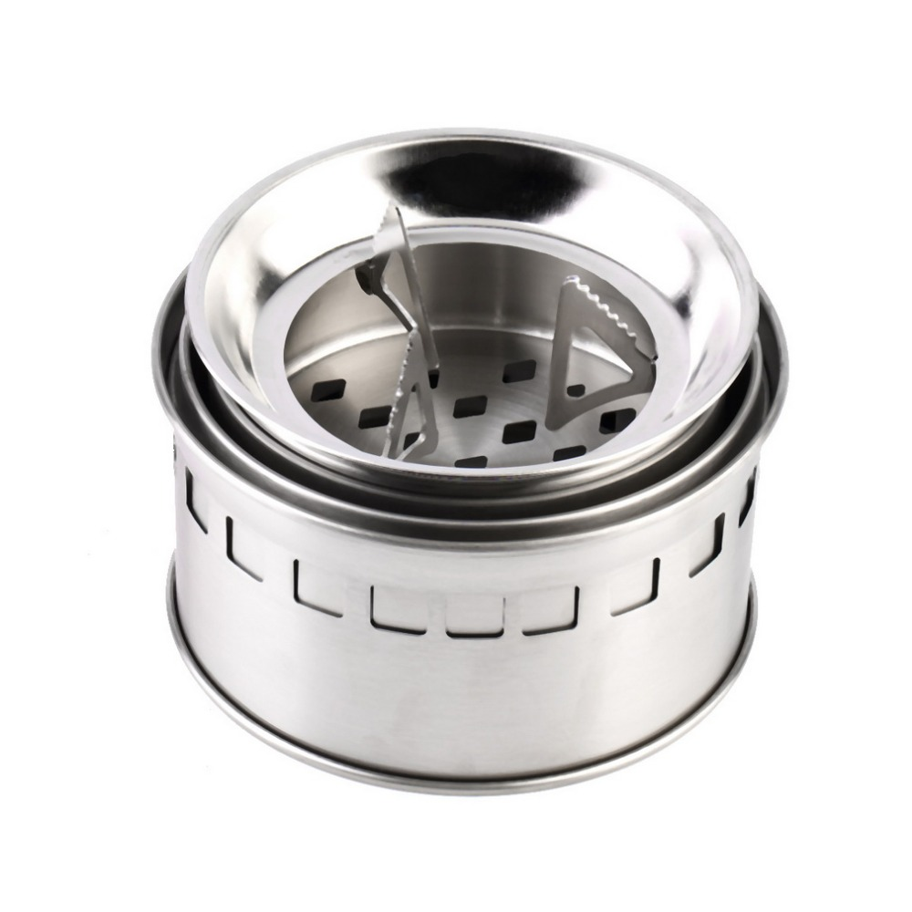 Portable Stainless Steel Camping Stove Outdoor Wood Stove Firewoods Furnace Lightweight BBQ Picnic Solidified Alcohol Stove new image