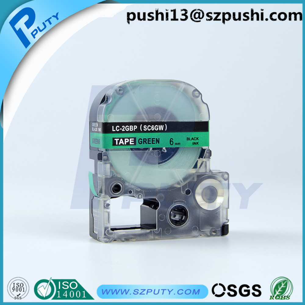 6MM black on green label tape SC6GW for Epson LW300 LW400 label ...