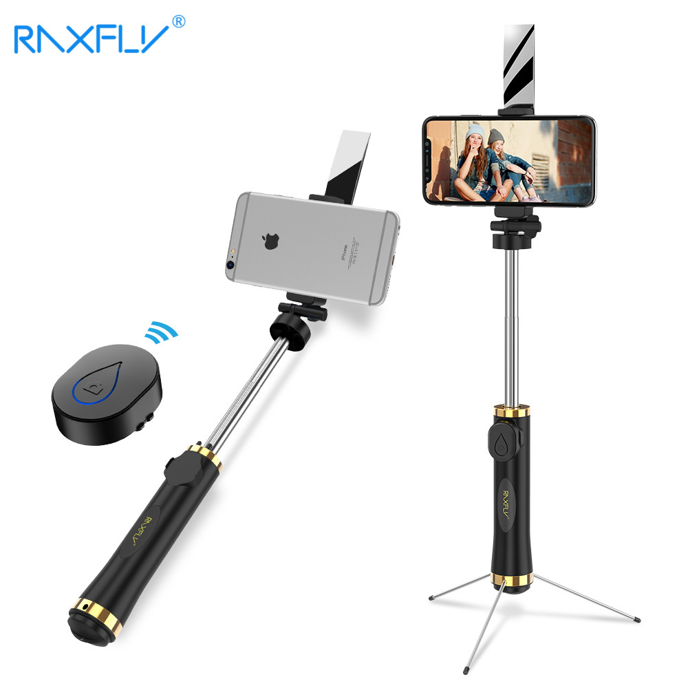 RAXFLY Mini Bluetooth Selfie Stick Foldable Tripod Mirror Remote Selfie Stick For IOS iPhone X 8