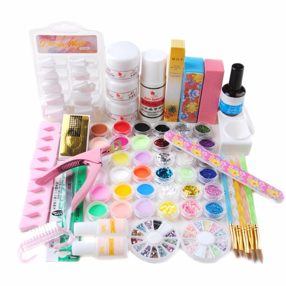 Pro Nail Art Tips Kit Diy Acrylic Liquid Full Powder Glitter