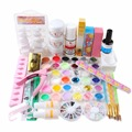 Pro Nail Art Tips Kit DIY Acrylic Nail Liquid Full Acrylic Nail Powder Glitter Nail Art Tool Set #137 Kit
