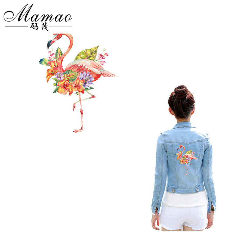 MAMAO Pink Flower Flamingo Parches Iron On Patches para camiseta DIY - Artes, artesanía y costura