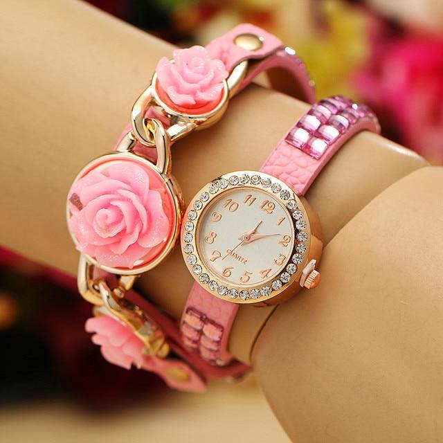 da76f165f657 Popular de la joyería fina para Mujer del diamante brillante rosas mujeres  reloj pulsera reloj de