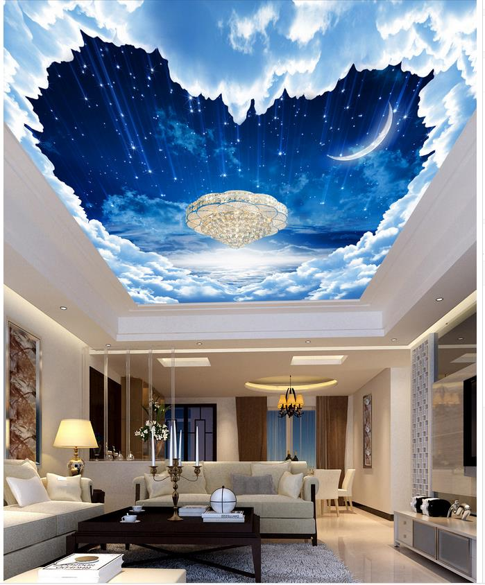 Custom 3d photo wallpaper ceilings fantasy night sky for Ceiling mural sky