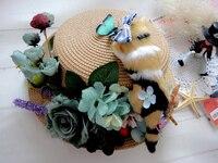 أليس الكرتون الوالدين والطفل القبعة الطفل القط أرنب القبعات شاطئ كاب الإناث القش فريد اليدوية القوطي