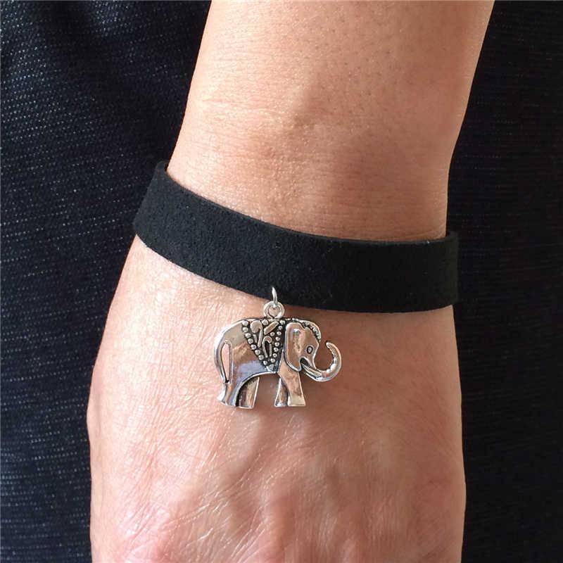 2019 חם אופנה Bijoux שחור קטיפה עור וינטג רטרו פיל ללא הגבלה קסם קאף צמידי צמידי עבור נשים & גברים תכשיטים