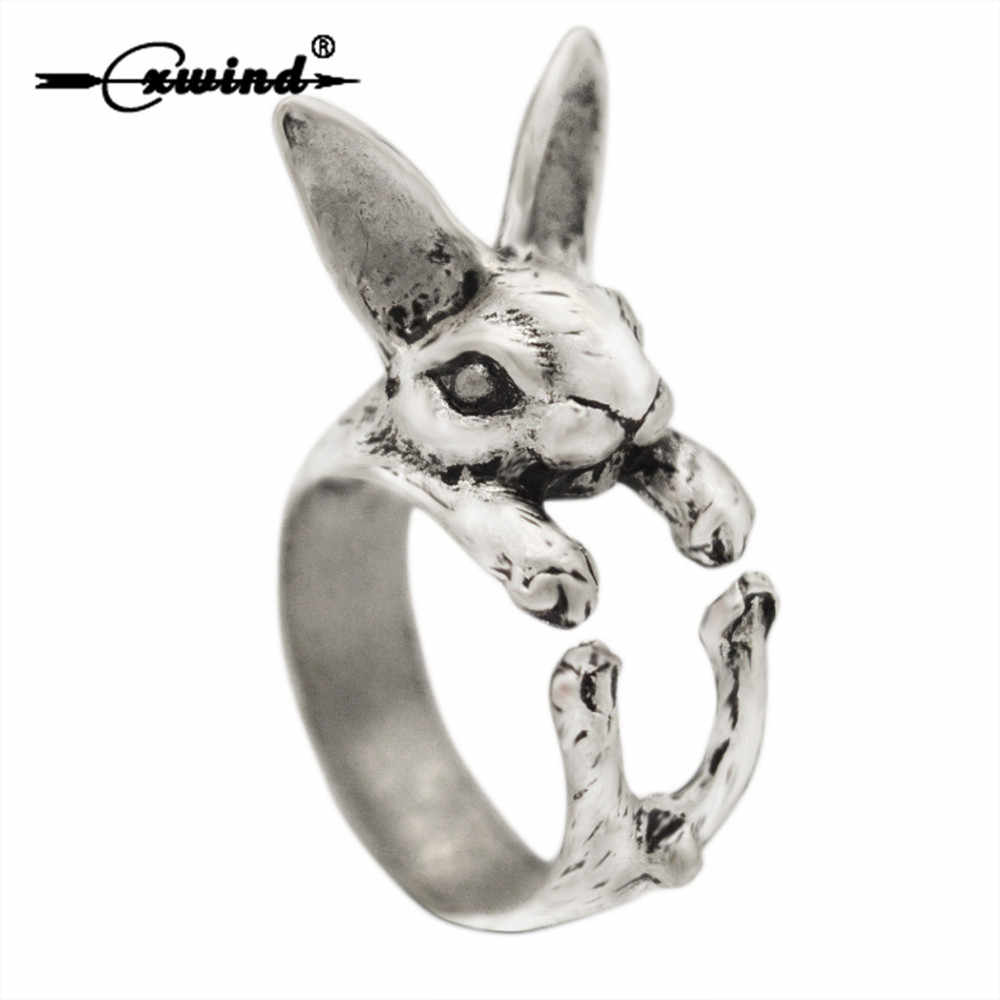 Cxwind Adjustable Cute Rabbit Ring Hippie Chic Antique Bronze Black Animal Bunny Rings Jewelry for Pet Lovers Best Gift