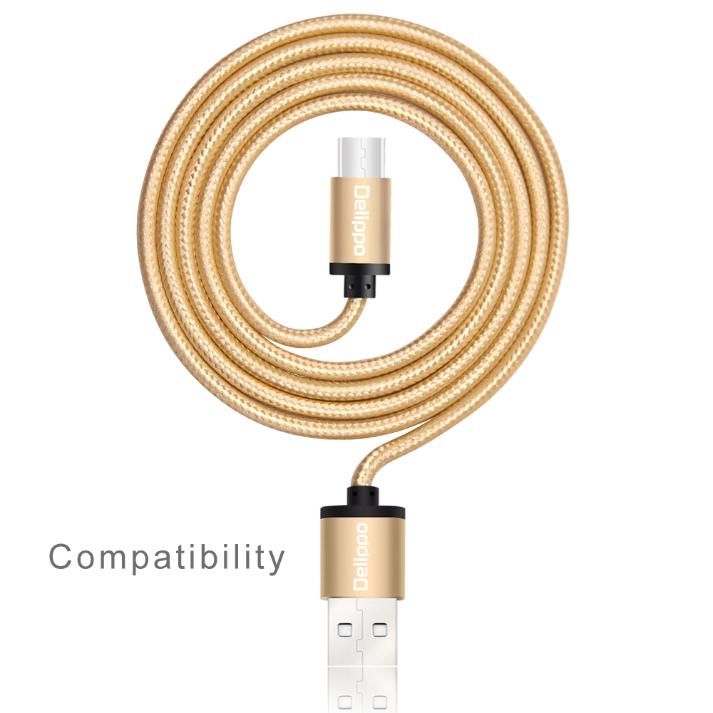 50piece 1.5m/4.9ft golden type c data cord Braided USB Type-C Extra Long Charger Cable For OnePlus 2 Two Google Nexus 6P/5X