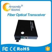 Único modo de fibra óptica RJ45 enternet 20 km transceptor de fibra óptica conversor de mídia