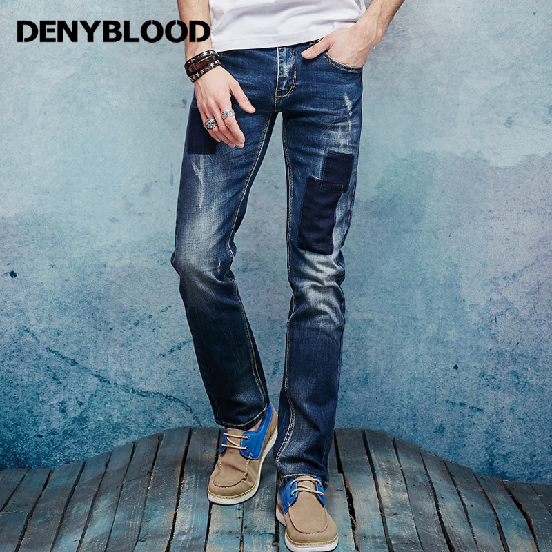 Denyblood Jeans Mens Jeans Stretch Denim Slim Straight Distressed Jeans Ripped Patchwork Fashion Casual Pants Trousers 158012 new fashion mens patchwork straight trousers men distressed ripped jeans brand scratched biker jeans denim slim fit casual pants