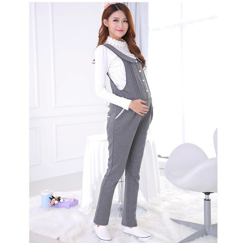 Warm Elastic Waist Belly Pants for Pregnant Women Large Size Cotton Maternity Suspender Trouser Elegant Overalls Favorable Price