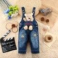 9 M-24 M Bebê Menina Roupas Bebe Menino Macacão Animal Kwaii Urso Calças Compridas Dos Desenhos Animados Macacão Jeans calças de Brim Rompers Roupa Da Criança