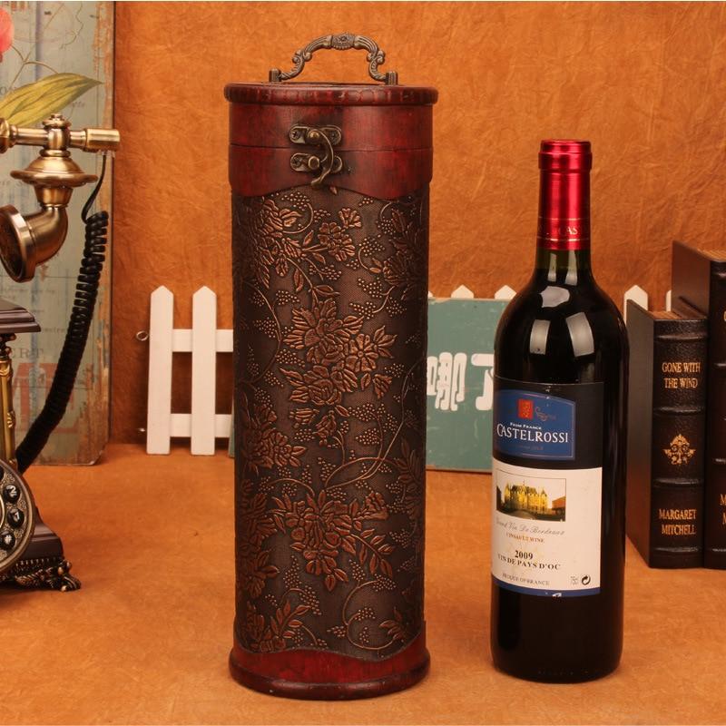 Vintage Archaistic Red Wine Box Portable Wood Wine Box Retro ...