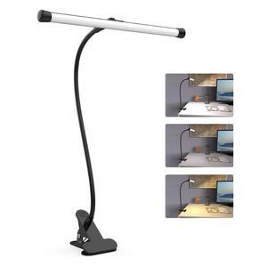 Image 1 - 책상 램프 LED 유연한 구즈넥 클램프 암 도면 조명 10 밝기, 3 색 모드, 5W 피아노 머리판 회의