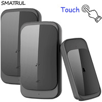 SMATRUL touch Waterproof Wireless Doorbell EU US Plug 280M range smart home Door Bell Chime ring 1 button 2 receiver 110v 220v