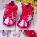 2015 New baby shoes bebe infant first walkers baby girls spring autumn rose flower lace-up slip walking shoes for 0-1T