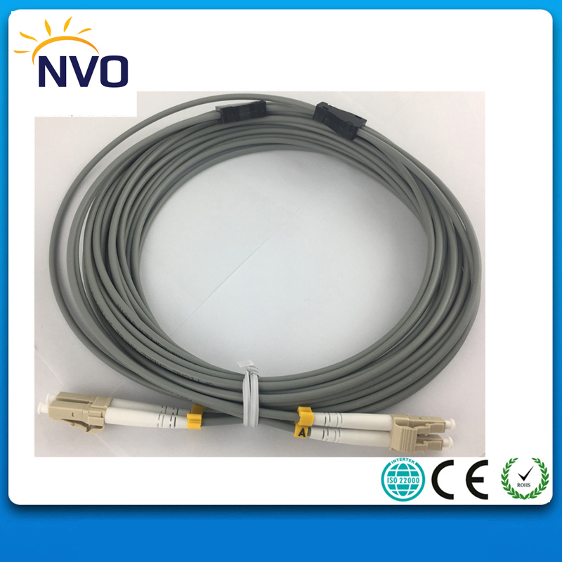 10Pcs/Lot,LC/UPC-LC/UPC MM(62.5/125),DX,Dia:3.0mm,L:10M,PVC Jacket,Gray,Armored Dual-core Indoor Fiber Optic Patch Cord Jumper