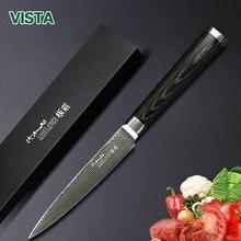 """Damaskus Messer Kochmesser Japanische Küchenmesser Damaskus VG10 Edelstahl SteelUtility Messer 5 """"Ultra Pakkaholz Griff"""